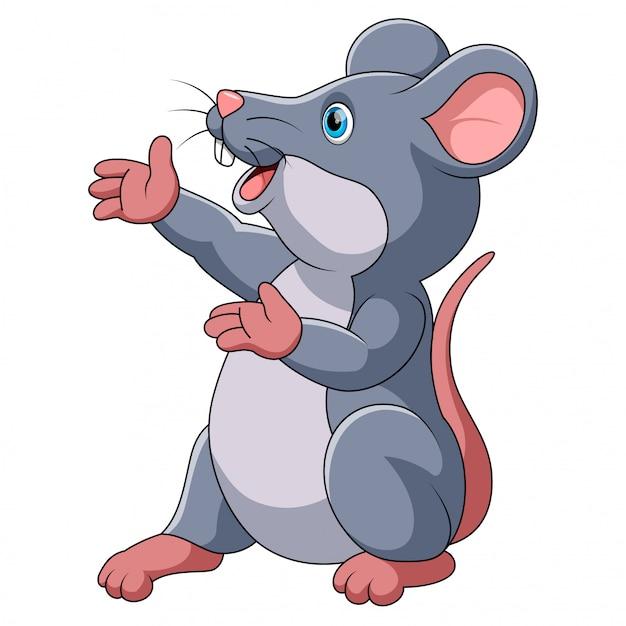 Cute mouse cartoon presenting | Premium Vector