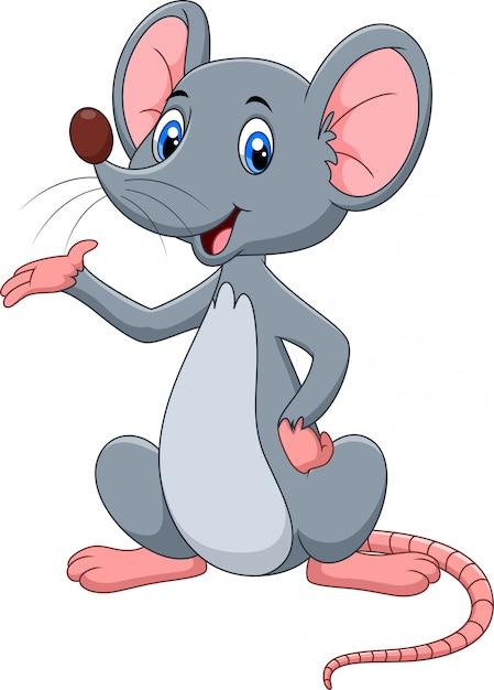 Premium Vector | Cute mouse cartoon presenting
