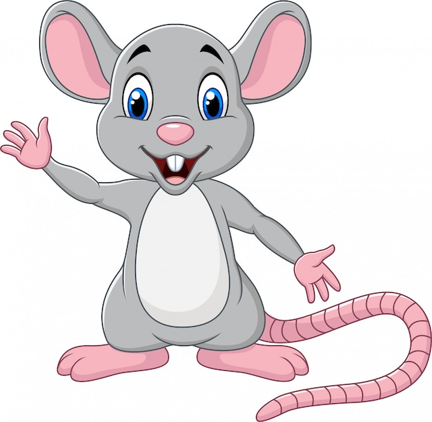 Premium Vector | Cute mouse cartoon waving hand