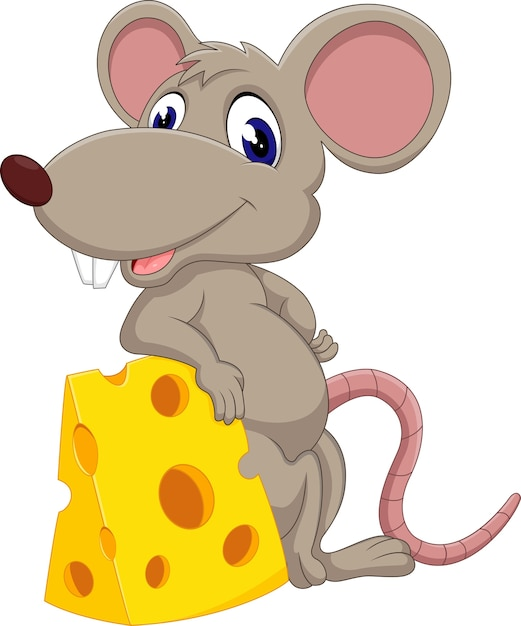 Cute mouse cartoon Premium Vector