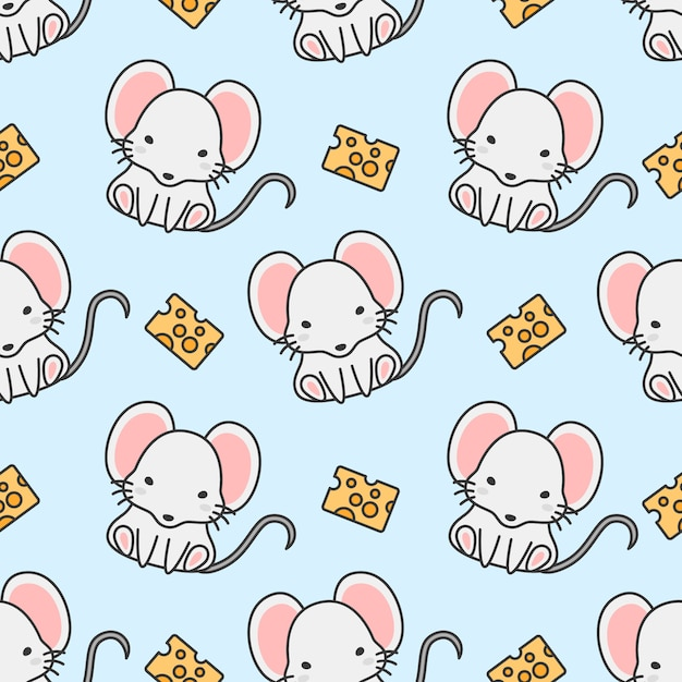 Cute mouse and cheese seamless pattern Premium Vector
