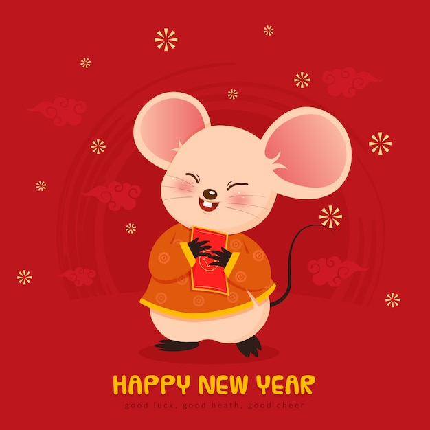 Cute mouse for chinese new year Premium Vector
