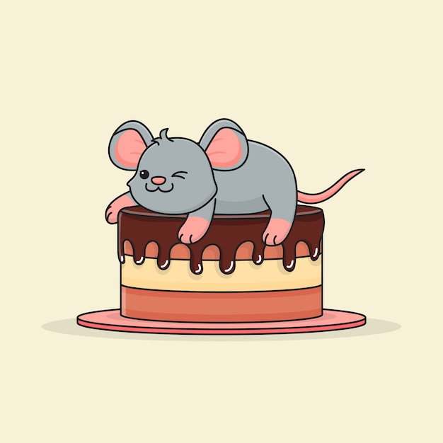 Cute mouse on chocolate cake Premium Vector