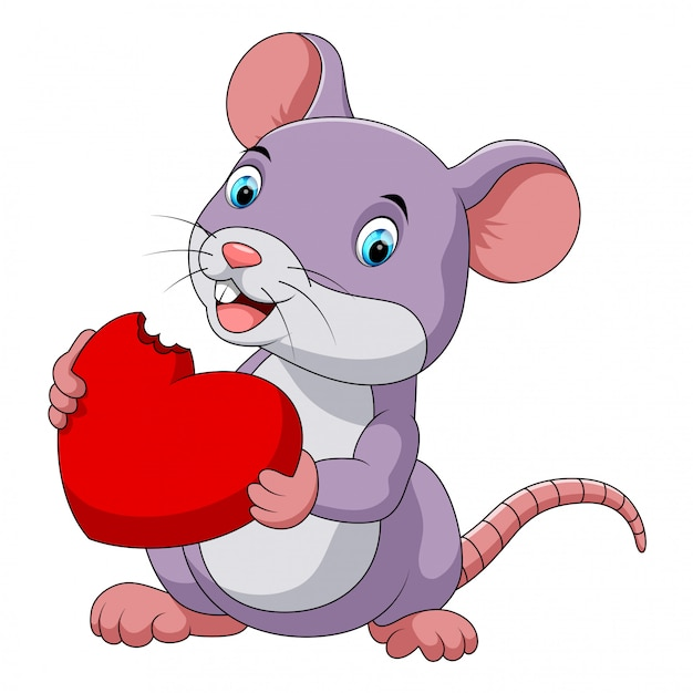 Cute mouse eating red hat Vector | Premium Download