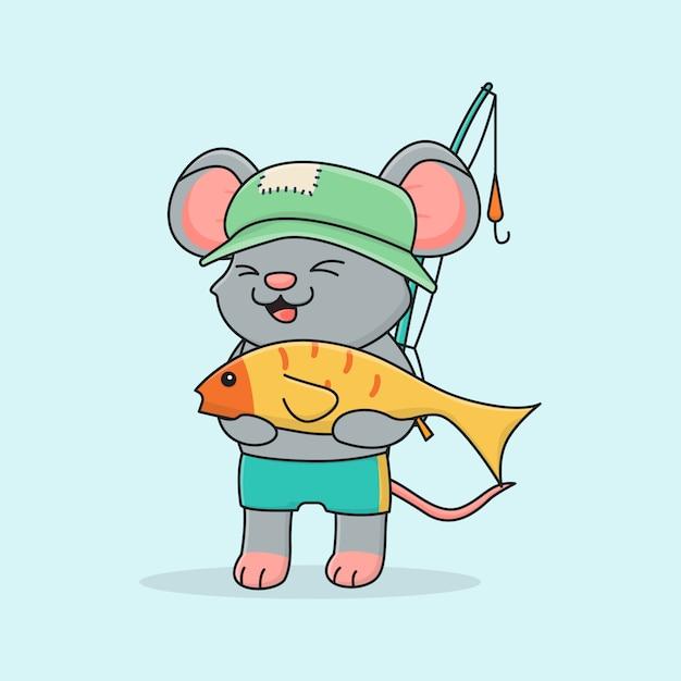 かわいいネズミ釣り Premiumベクター