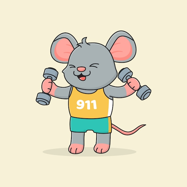 Cute mouse holding barbell | Premium Vector
