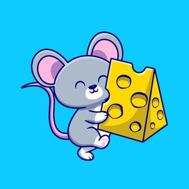 Милая мышь держит сыр мультфильм иллюстрации. концепция животного питания изолированные плоский мультфильм Бесплатные векторы