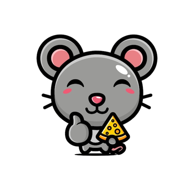 Cute mouse holding cheese in good pose Premium Vector