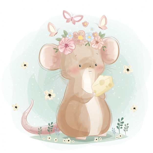 A cute mouse holding a cheese Premium Vector