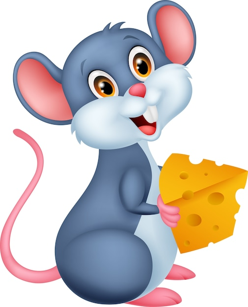 Cute mouse holding a piece of cheese Premium Vector