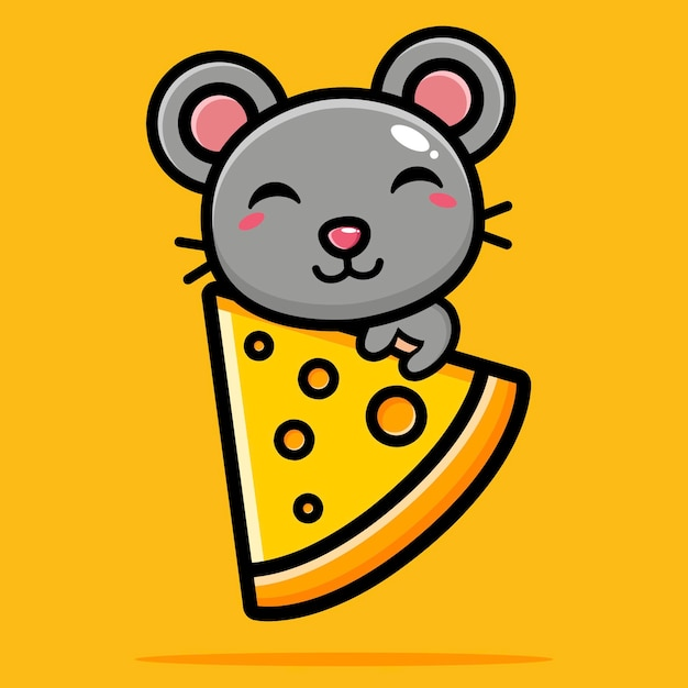 Cute mouse hugging cheese happily Premium Vector
