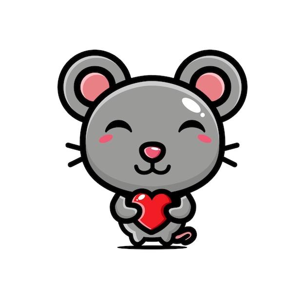 Cute mouse hugging love heart Premium Vector