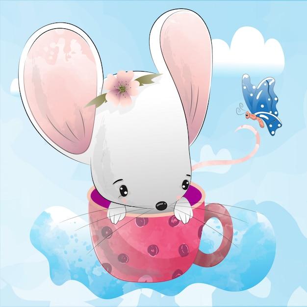 Cute mouse illustration | Premium Vector