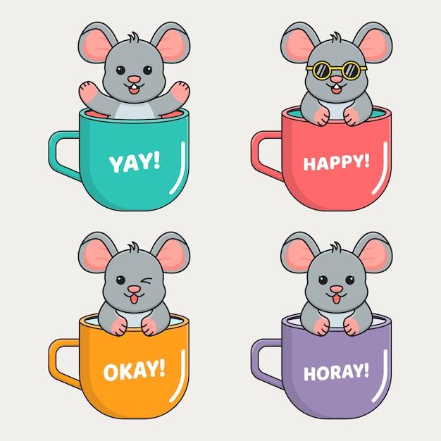Cute mouse inside mug Premium Vector