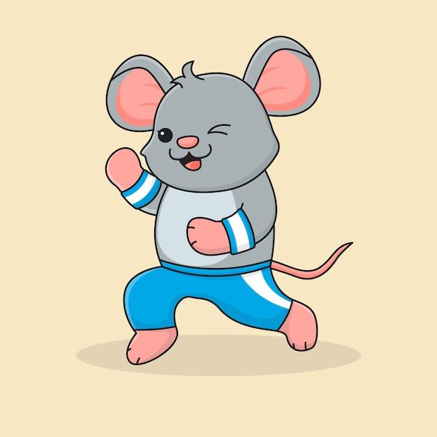 Cute mouse jogging Premium Vector