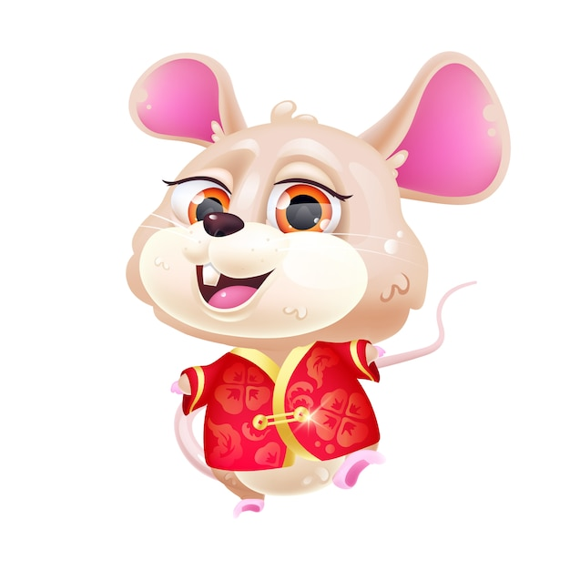 Cute mouse kawaii cartoon character. 2020 chinese new year. adorable and funny animal in national red costume isolated sticker, patch. anime baby rat emoji on white background Premium Vector