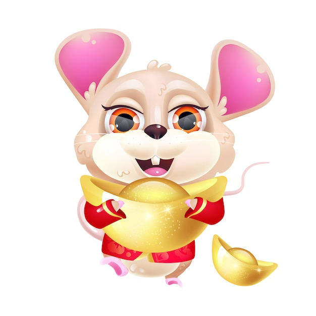 Cute mouse kawaii cartoon character. adorable and funny chinese zodiac animal with gold bars isolated sticker, patch. oriental lunar new year. anime baby rat emoji on white background Premium Vector