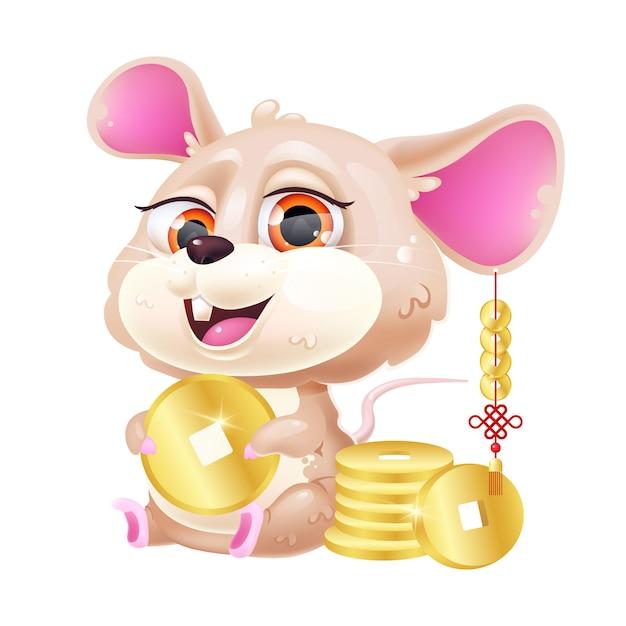Cute mouse kawaii cartoon  character. Premium Vector