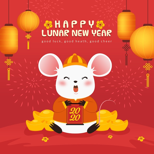 Cute mouse lunar new year background Premium Vector