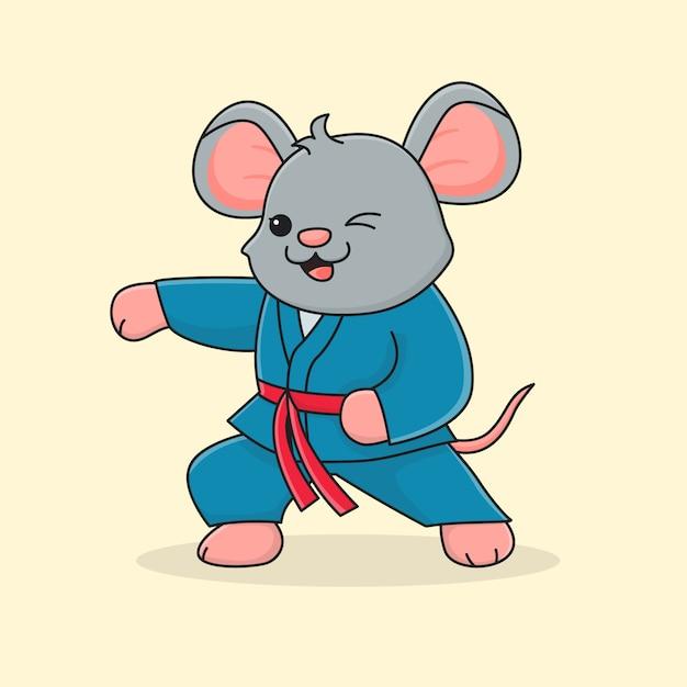 Cute mouse martial Premium Vector
