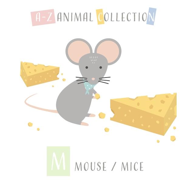Cute mouse mice cartoon doodle animal alphabet m Premium Vector