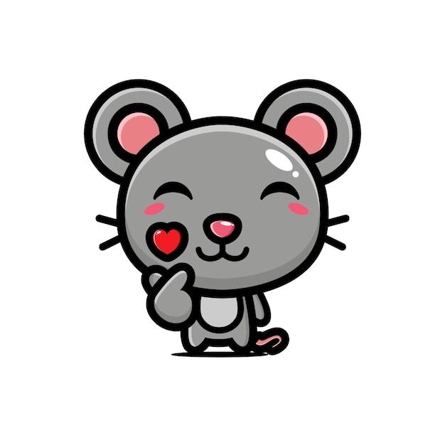 Cute mouse posing finger love Premium Vector