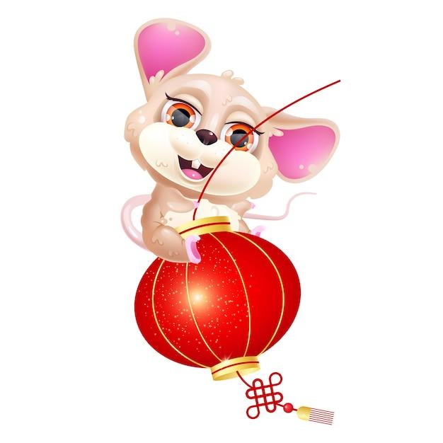 Cute mouse riding lantern kawaii cartoon vector character. asian zodiac sign. Premium Vector