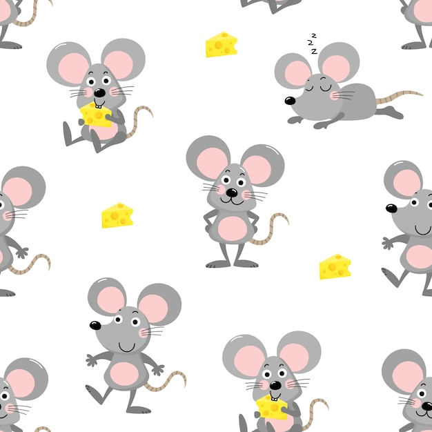 Cute mouse seamless pattern Premium Vector