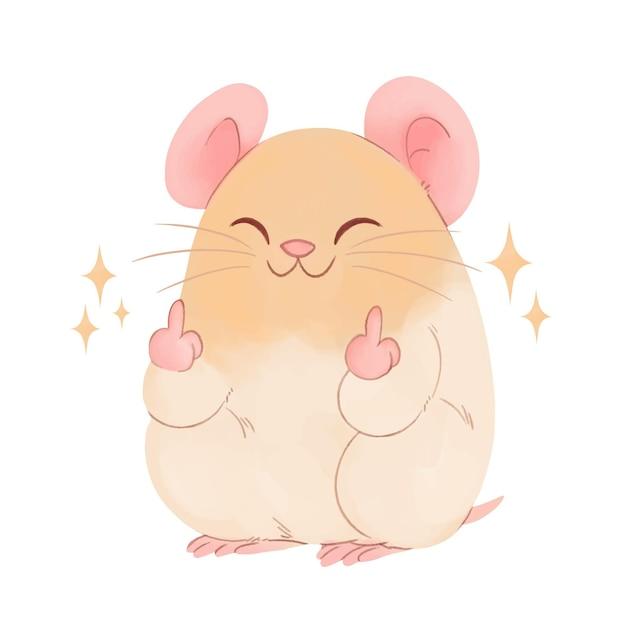 Симпатичная мышь, показывающая на хуй символ Бесплатные векторы