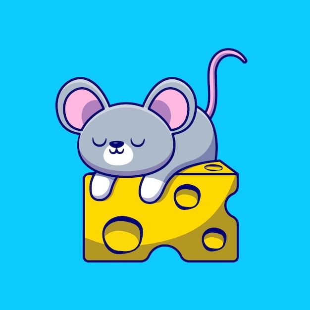 Симпатичная мышь, спать на иллюстрации шаржа сыр. концепция животного питания изолированные плоский мультфильм Бесплатные векторы