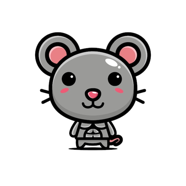 Cute mouse strong and muscular Premium Vector
