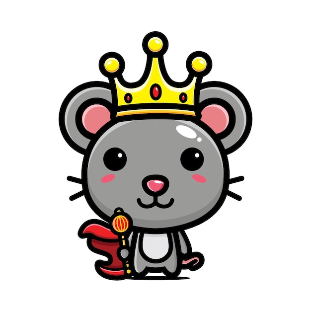 Cute mouse wearing king costume Premium Vector