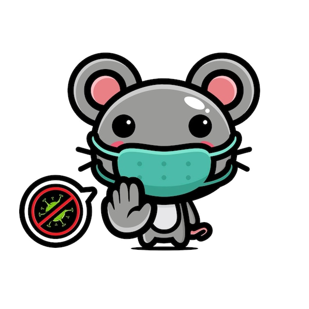 Cute mouse wearing mask with stop virus pose Premium Vector