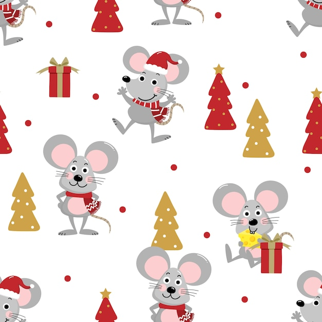 Cute mouse in winter costume seamless pattern Premium Vector