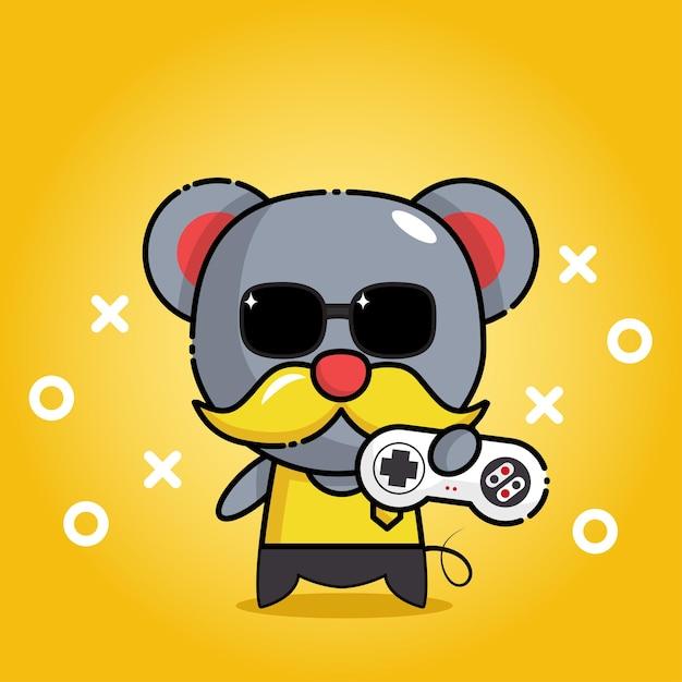 Милая мышь с персонажем талисмана игрового контроллера Premium векторы