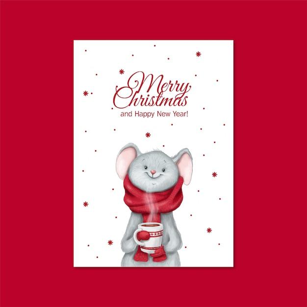 Cute mouse with a mug card Premium Vector