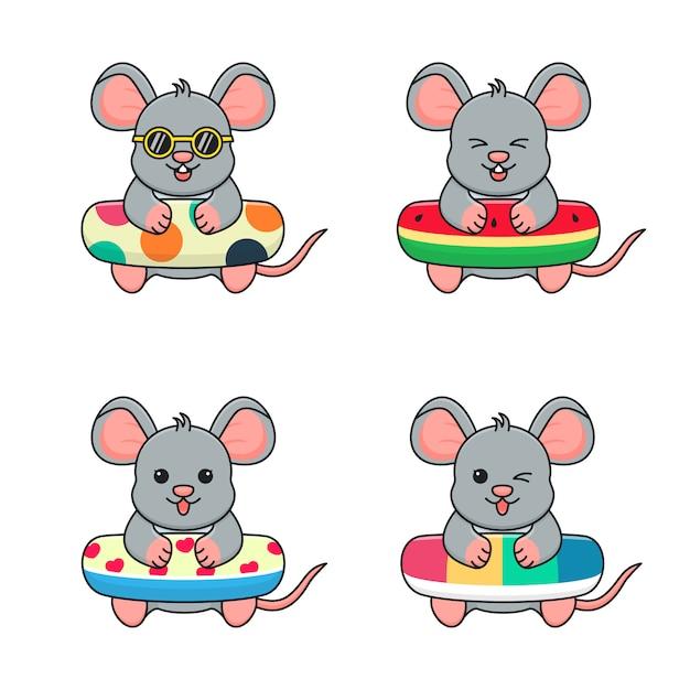 水泳リング水玉、スイカ、愛と虹とかわいいマウス Premiumベクター