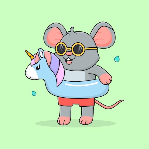 Cute mouse with swim ring unicorn and sunglasses Premium Vector