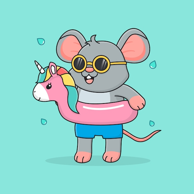 Cute mouse with swim ring unicorn and sunglasses Premium Vector