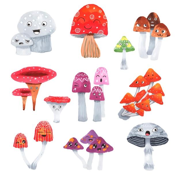 Cute mushrooms set Premium Vector