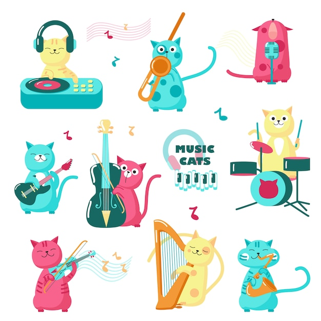 Cute music cats. funny little characters playing musical instruments, singing, listening music Premium Vector