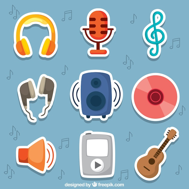 Cute music stickers free vector