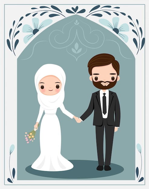 Cute Muslim Couple With Flower Frame For Wedding Invitation Card Premium Vector
