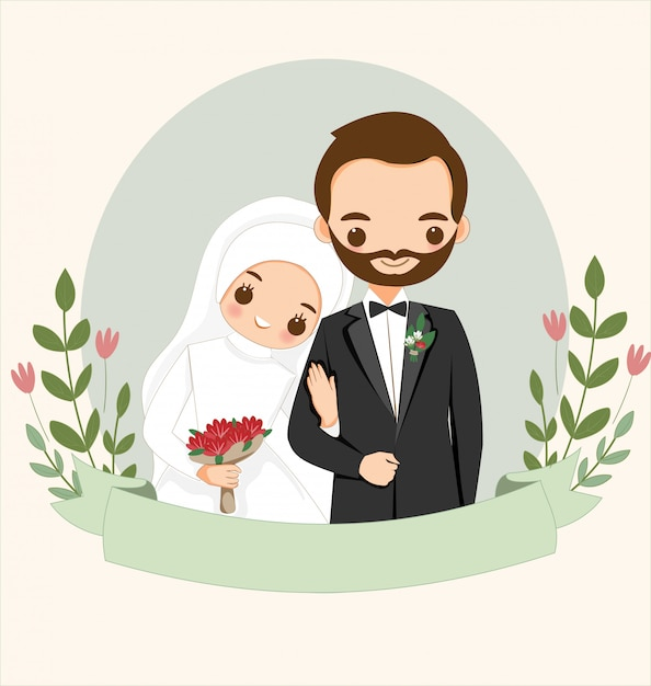 Premium Vector | Cute muslim couple with flower for wedding invitation card