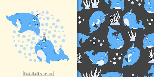 Cute narwhal animal seamless pattern with hand drawn illustration card set Premium Vector