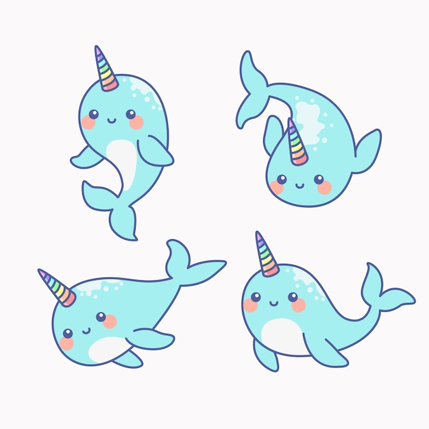 Cute narwhal - the unicorn of the sea set Premium Vector