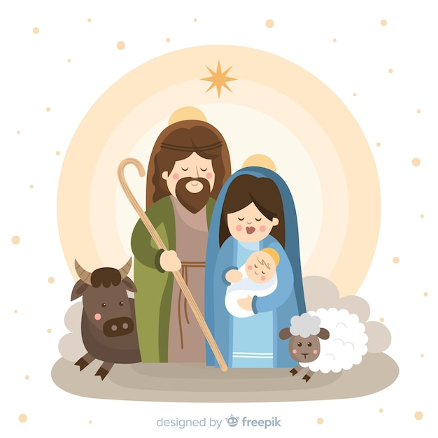 Cute nativity portrait Free Vector