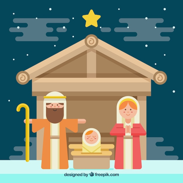 Cute nativity scene in flat design
