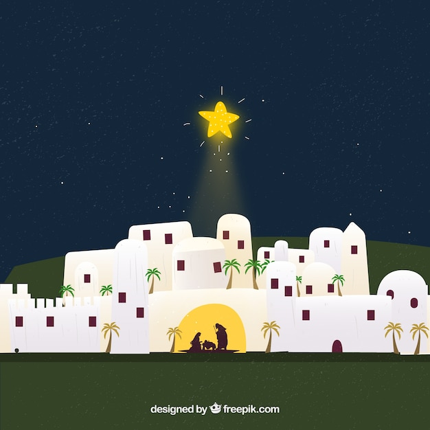 Cute nativity scene Free Vector