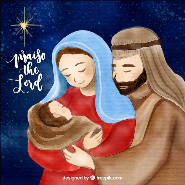 Cute nativity scene Free Vector